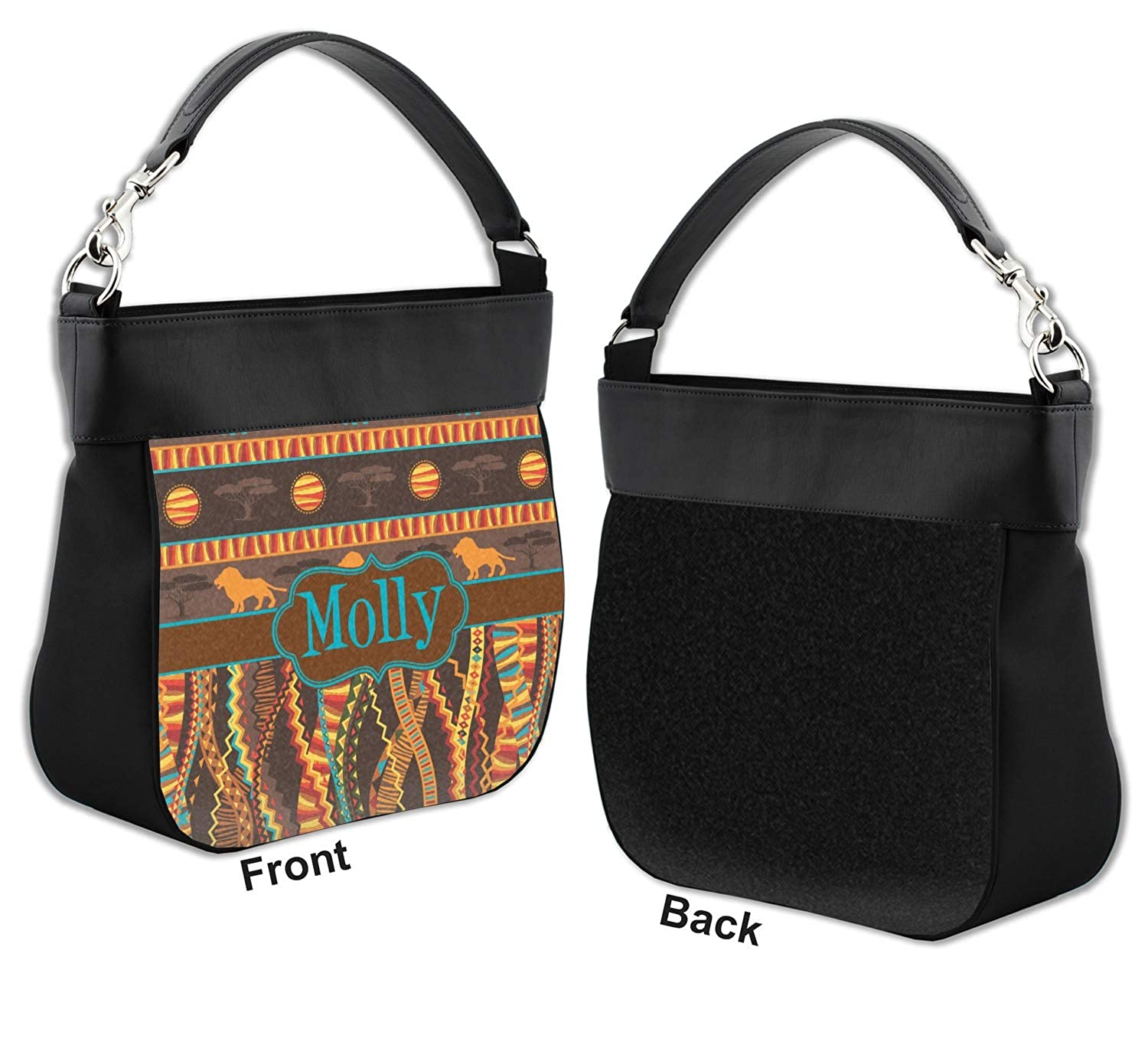 Front Personalized African Lions /& Elephants Hobo Purse w//Genuine Leather Trim