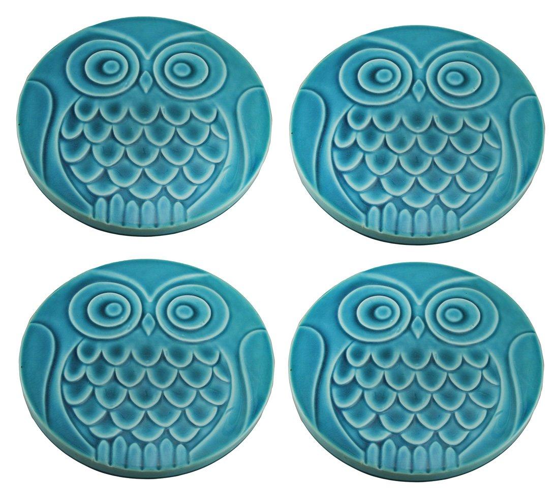 Set di 4 turchese blu gufo in ceramica di pietre, 30,5 cm di diametro