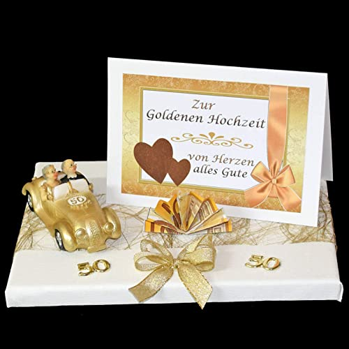 Geld Geschenk Zur Goldenen Hochzeit Mit Goldpaar Im Auto
