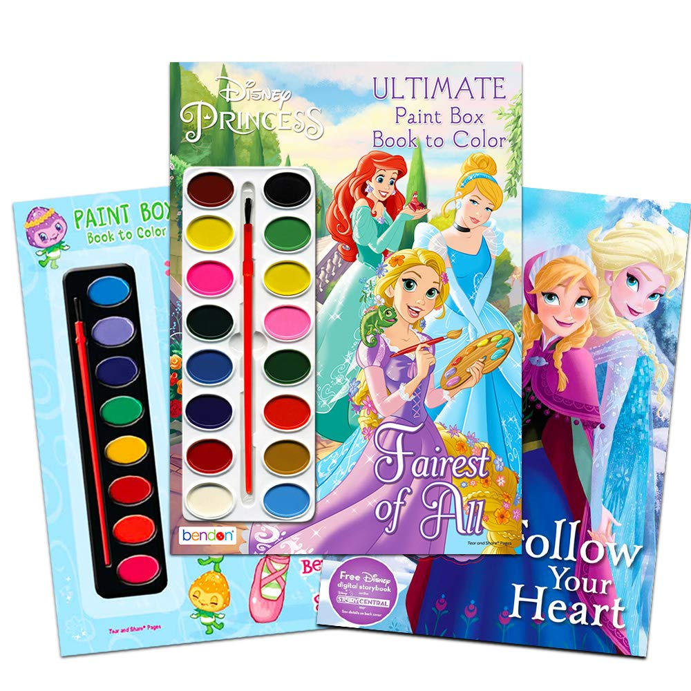 Paint with Water Super Set for Girls Kids Toddlers -- Bundle Includes 3 Deluxe Paint Books with Paint Brushes (Featuring Disney Princess, Strawberry Shortcake and Disney Frozen) by Disney