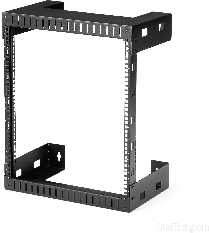 "StarTech.com 12U 19"" Wall Mount Network Rack - 12"" Deep 2 Post Open Frame Server Room Rack for Data/AV/IT/ Communication/Computer Equipment/Patch Panel w/Cage Nuts & Screws 200lb Capacity (RK12WALLO)"