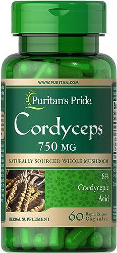 Puritans Pride Cordyceps Mushroom 1500 Milligram, 60 Count
