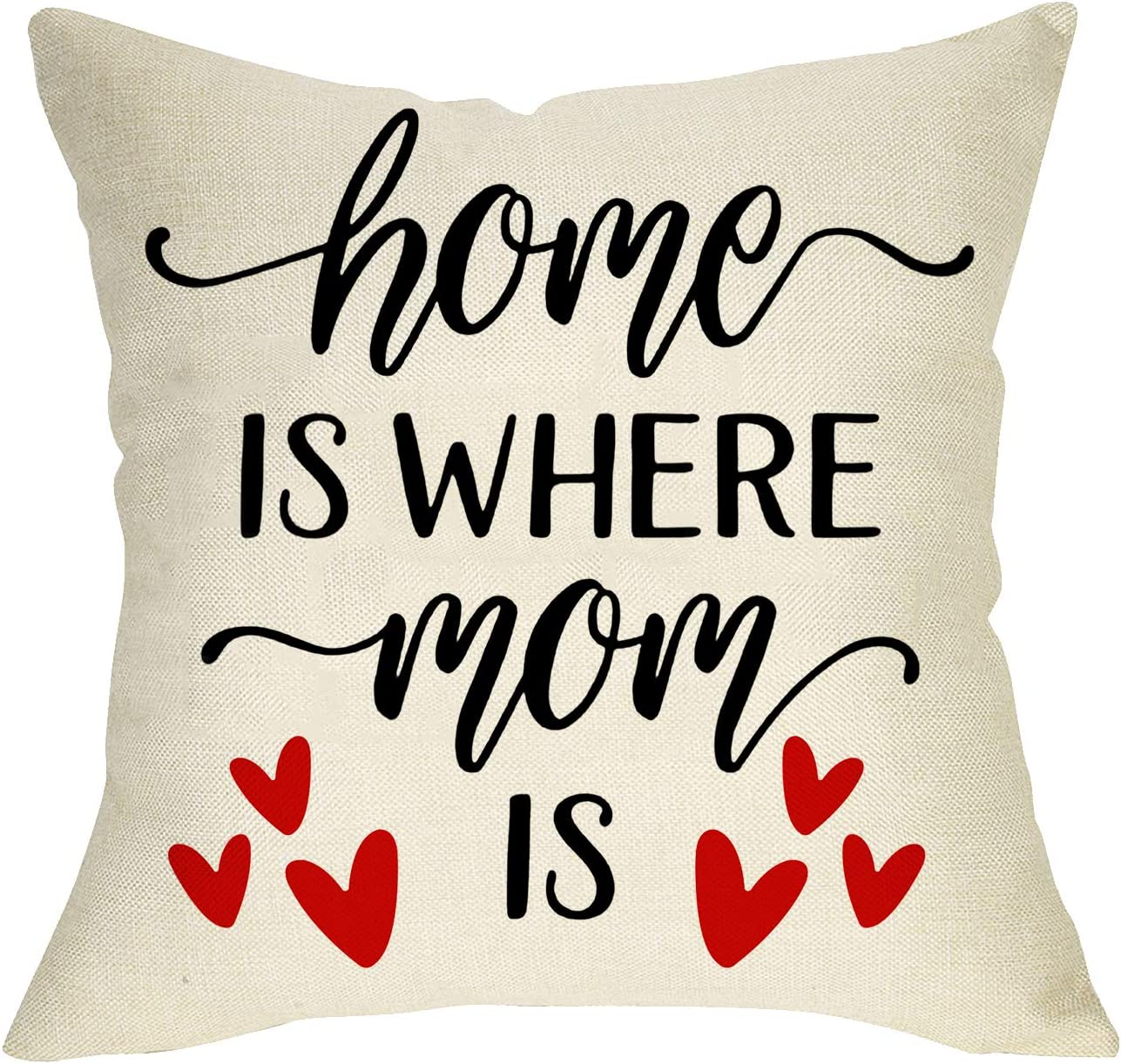 FBCOO Home is Where Mom is Decorative Throw Pillow Cover, Farmhouse Quote Cushion Case Love Heart Mother's Day Birthday Gift, Home Decorations Square Pillowcase Decor 18 x 18 Inch Cotton Linen