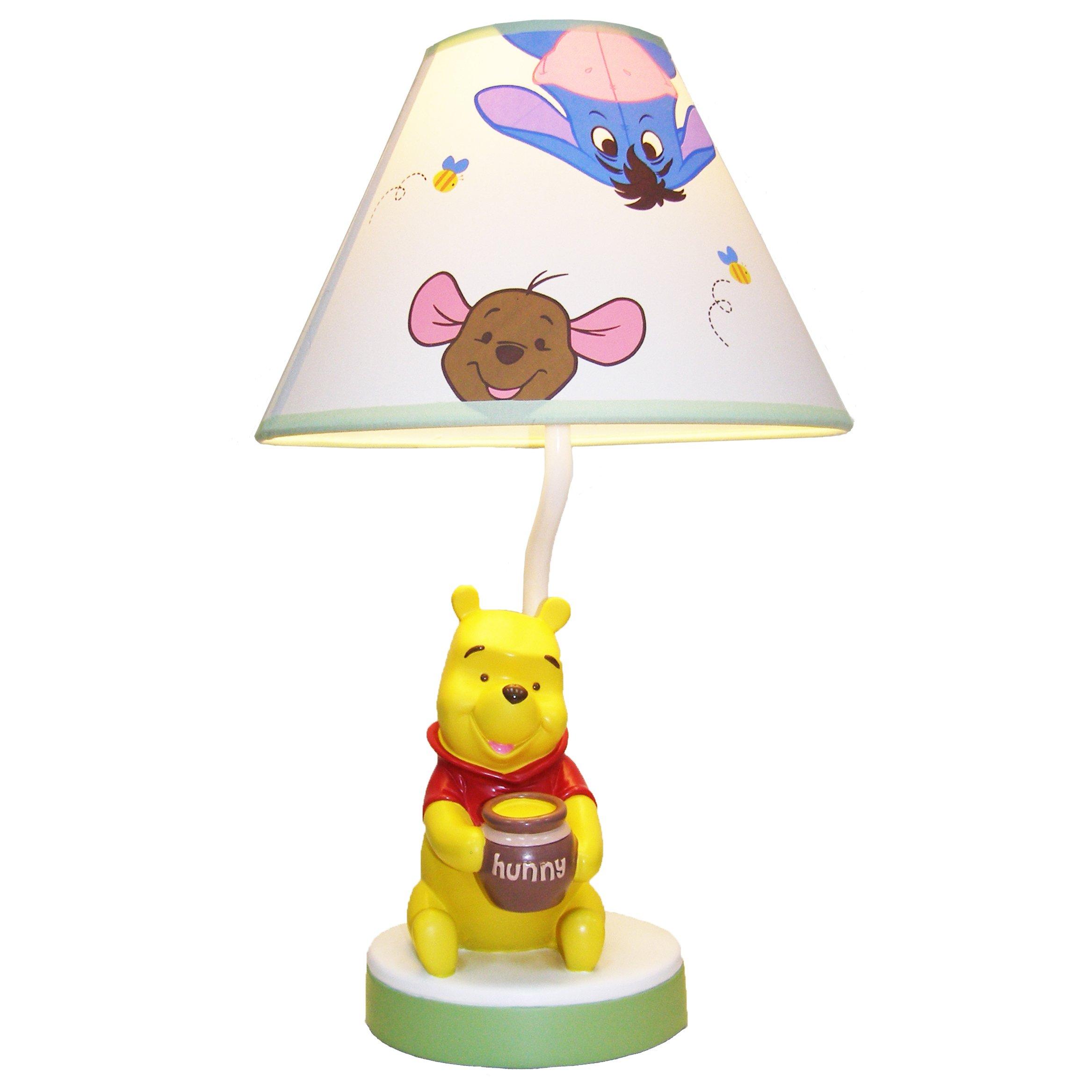 Disney Winnie the Peeking Pooh Lamp Base and Shade, Yellow/Red/Sage/Blue
