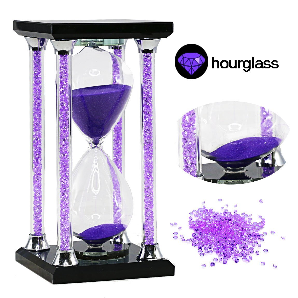 SZAT Hourglass Sand Timer Clock Romantic Mantel Office Desk Coffee Table Book Shelf Curio Cabinet Christmas Birthday Present Gift Box Package(Purple, Black Porch,30 Minutes)