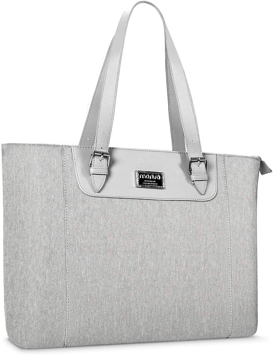 MOSISO 15.6-17 inch Laptop Tote Bag with Adjustable Strap Compartment, Gray