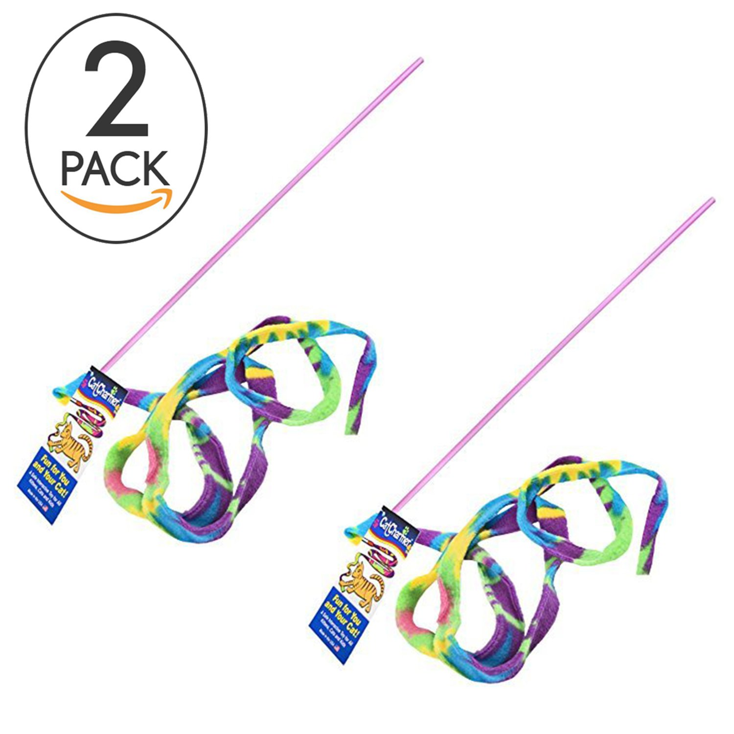 Cat Dancer Cat Toy Cat Charmer Safe Wand Teaser Colorful Fabric Ribbon Safe Flexible Exercise Toy 2 Pack