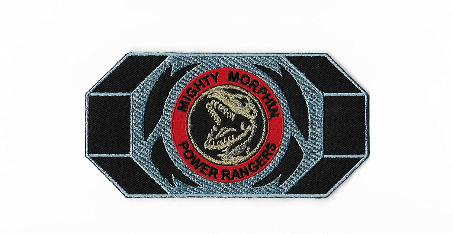 Red Power Ranger Patch Embroidered Iron on Badge Mighty Morphin T-Rex Morpher
