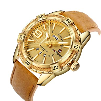 NAVIFORCE Luxury Men Sports Watches Waterproof Quartz Gold Big Face Date Clock