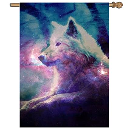 Amazon.com: XASFF Galaxy Wolf Garden Flag Decorative 1 Sided ...