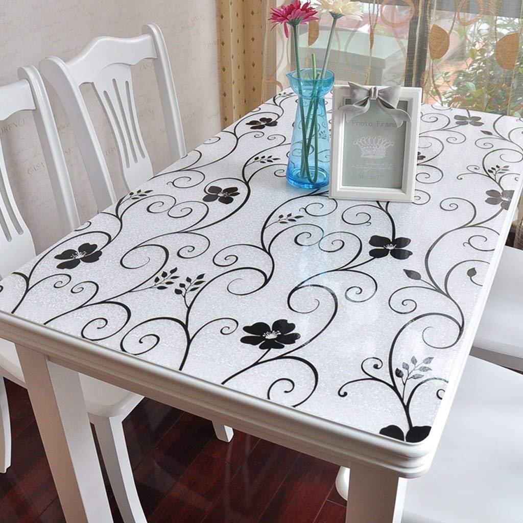 Shuangdeng PVC長方形スクラブテーブルクロス、柔らかいガラステーブルats防水クリスタルプレートコーヒーテーブルクロス (Color : A, サイズ : 90*150cm) 90*150cm A B07S79G97W