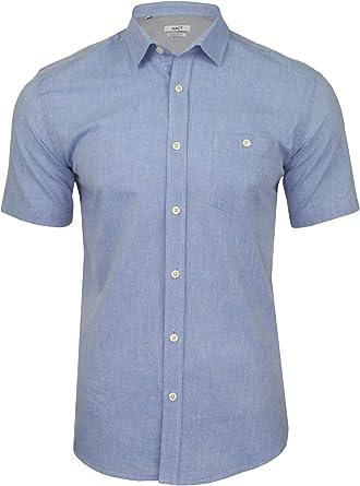 Xact - Camisa de lino para hombre, manga corta: Amazon.es: Ropa y accesorios