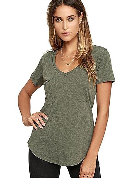 98867d574063b MCieloLuna Women Sexy Deep V Neck Short Sleeve Solid Tops Summer Casual Tee  XSmall Army Green
