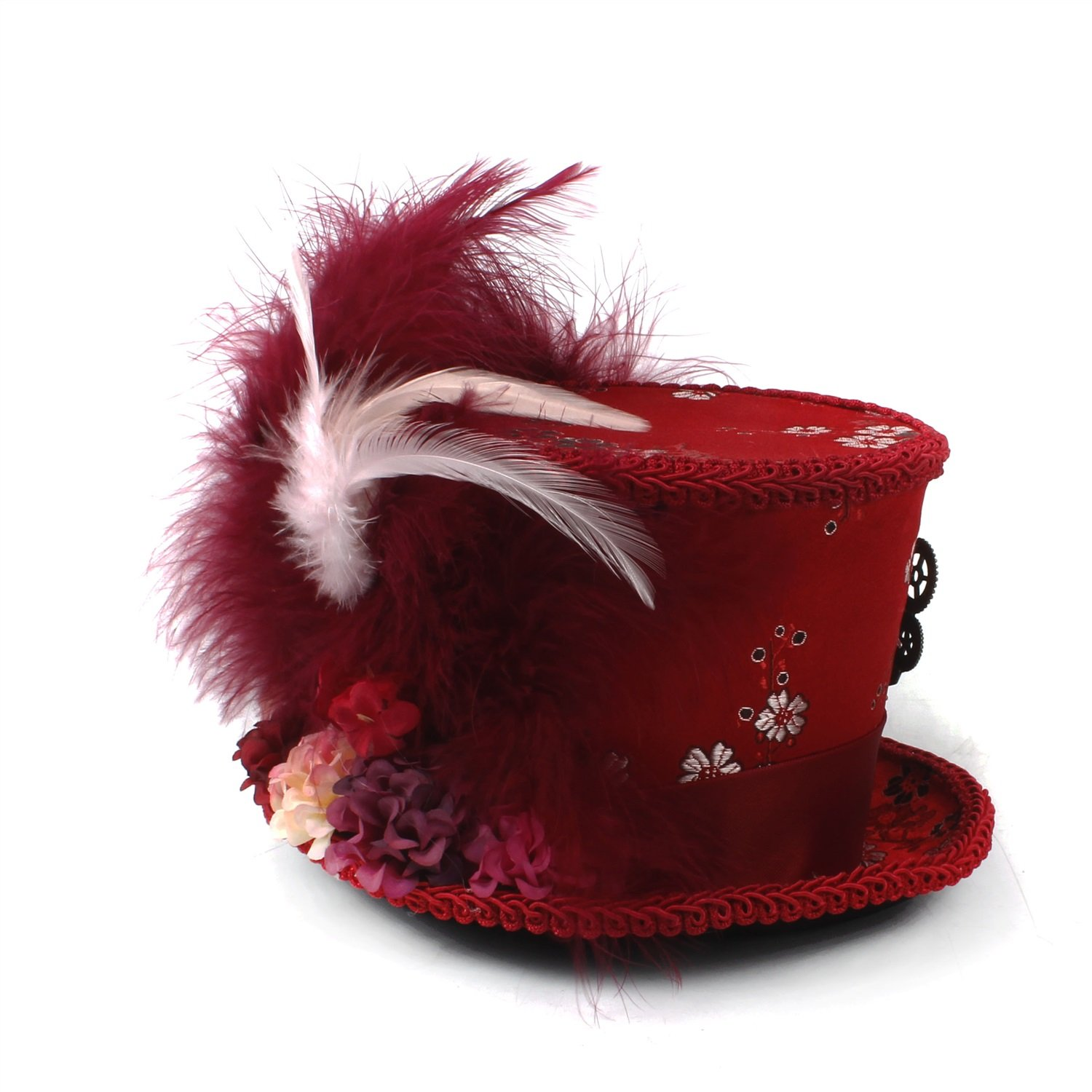 LL Women;s Red Mini Top Hat, Antique Red and Ivory Tea Cup Hat Mad Hatter Hat, Tea Hat,Mad Hatter Tea Party (Color : Red, Size : 25-30cm) by LL (Image #4)