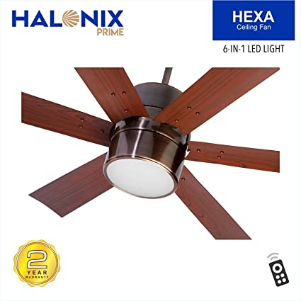 Buy Halonix Hexa Antique 1200mm Ceiling Fan with Built-in 6 Colour LED Light and Remote (Brown) Online at Low Prices in India - Amazon.in