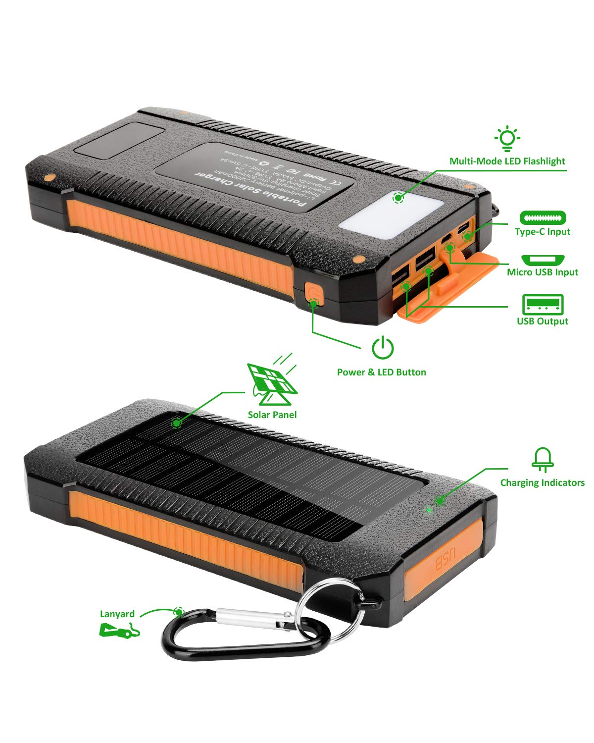 Solar Power Bank,Solar Charger 22000mAh Fast Charging Portable Phone Charger with Solar LED Light Android 3A+Type-C 3A Waterproof Dustproof Anti-Shock Cellphone Charger Large Capacity External Battery