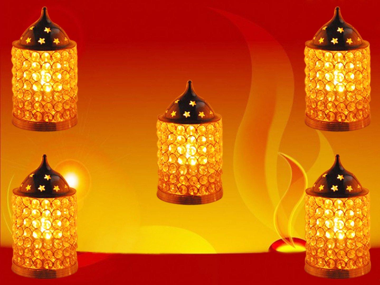 GoldGiftIdeas Brass Diamond Nag Deep Crystal Diya Oil Lamp, Diyas for Decoration, Housewarming Gift, Christmas Gift (Pack of 5, 8.26 x 4.52 Inch)