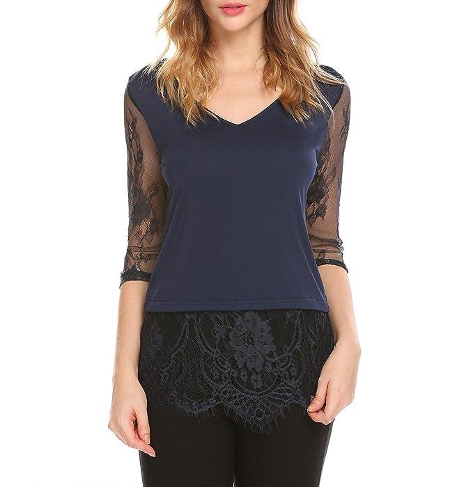 Chigant Damen Sommer Halbarm mit Floraler Spitze T-Shirt V Ausschnitt  Elegant Oberteil Tops  Amazon.de  Bekleidung 2c0e972a40