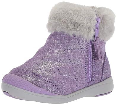 d9f14e7e39cc Stride Rite Chloe Girl s Sparkle Suede Bootie Fashion Boot Purple 5 M US  Toddler