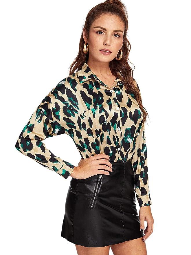 dfa089a6906 SheIn Women's Casual Long Sleeve Button Down Shirt Leopard Print Blouse Top  at Amazon Women's Clothing store: