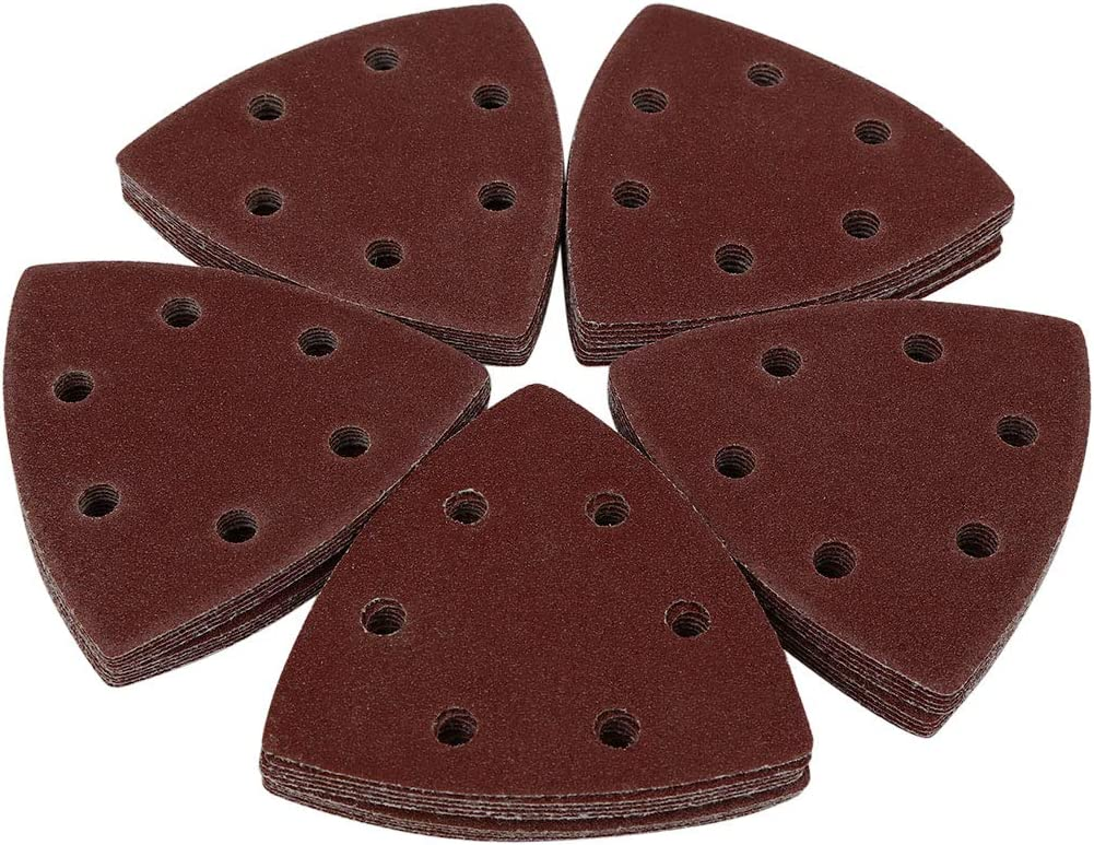 uxcell 50 Pcs 3.5 Inch Hook and Loop Sanding Discs Pads 120 Grit 6-Hole Triangle Sandpaper
