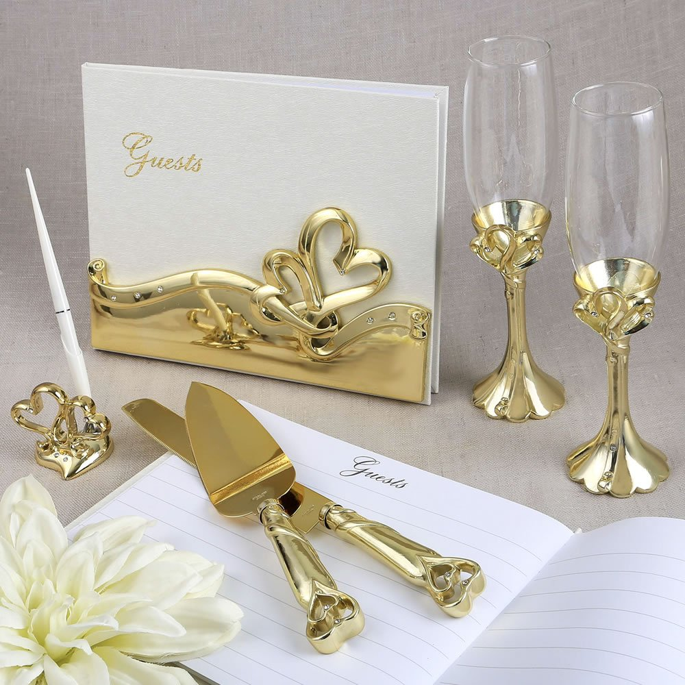 Fashioncraft Gold Double Heart Wedding / 50th Anniversary Accessory Set (Book, Cake and Knife Servers, Pen, 2 Flutes)