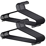 KEPLIN 20x Adult Coat Hangers Black Colour Strong Plastic Clothes (36cm Wide)