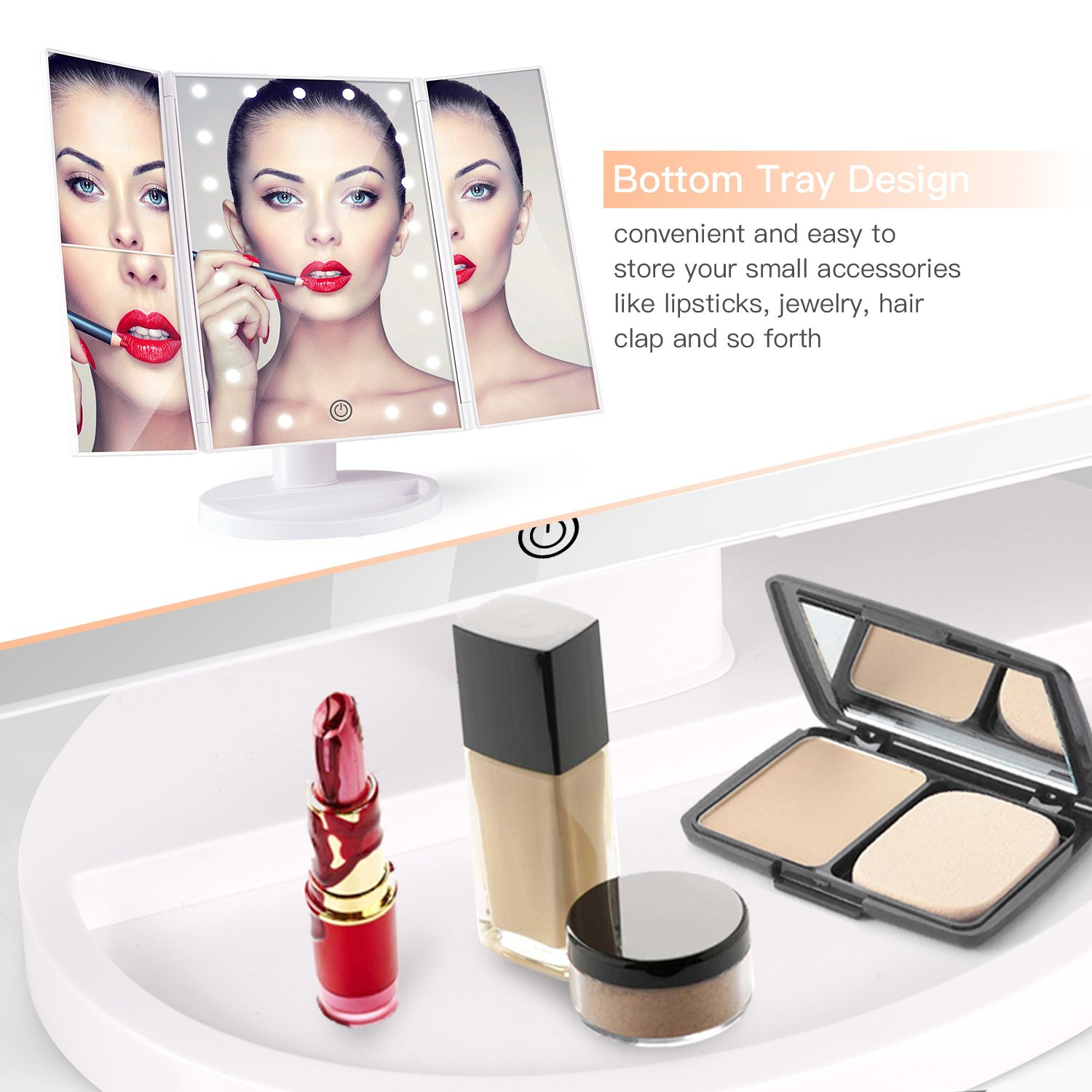 BESTOPE Makeup Vanity Mirror with 21 LED Lights 3X/2X Magnifying Touch Screen,Dual Power Supply,180° Adjustable Rotation,Countertop Cosmetic, 2 Pound by BESTOPE (Image #6)