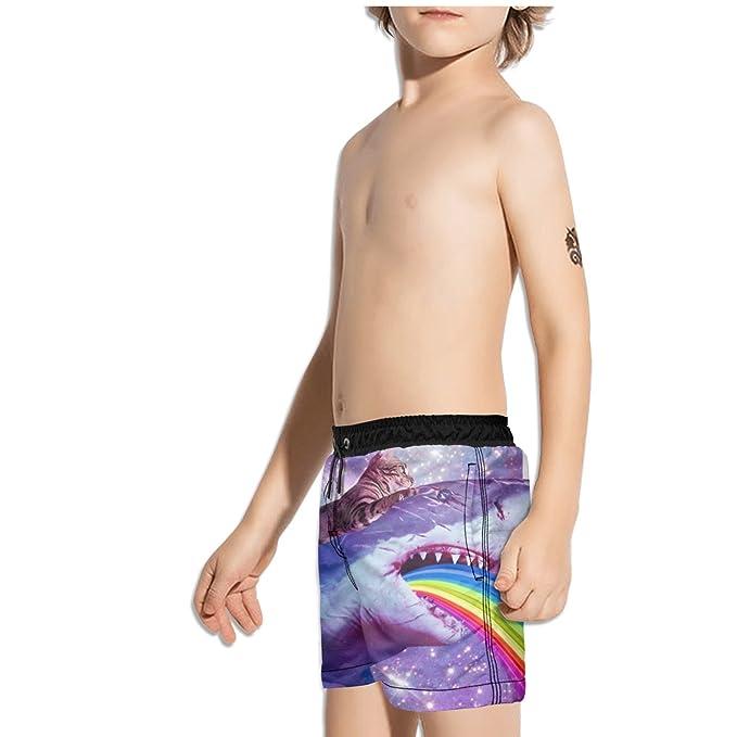 8fe861450b Amazon.com: YEASHEER Boy's Quick Dry Swim Trunks Galaxy Shark cat Rainbow  Shorts: Clothing