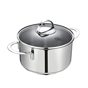Mr Rudolf 2.6 Quart 18/10 Stainless Steel 2 Handles Stock Pot with Glass Lid Dishwasher Safe PFOA Free Casserole Stocpots 20cm 2.5 Liter Dutch Oven