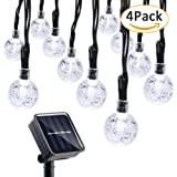 Qedertek 4 Pack Globe Solar String Lights, 19.7ft 30 LED Fairy Lights, Outdoor Solar Lights for Home, Gazebo, Patio, Lawn, Garden, Party and Holiday Decoration(Cool White)