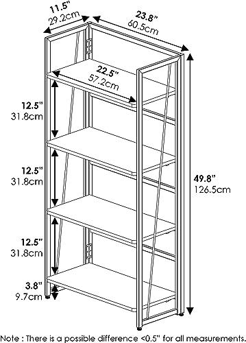 FURINNO Riau No Tool/No Assembly/Folding Metal Frame Bookcase