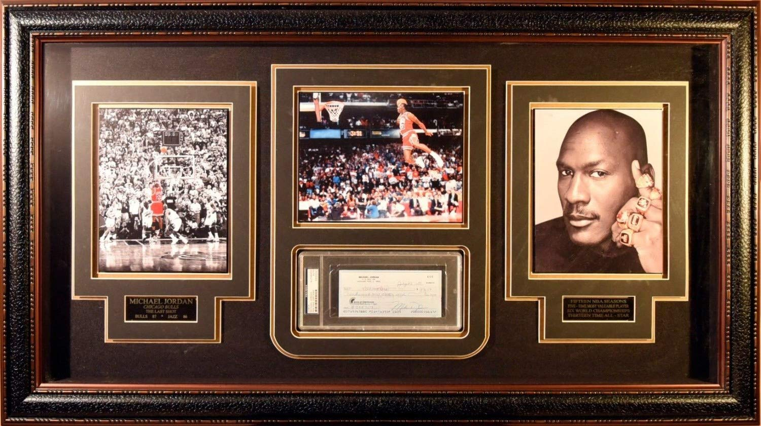 Michael Jordan Autographed Signed/Framed Personal Check From 1989 In PSA/DNA Encapsulation