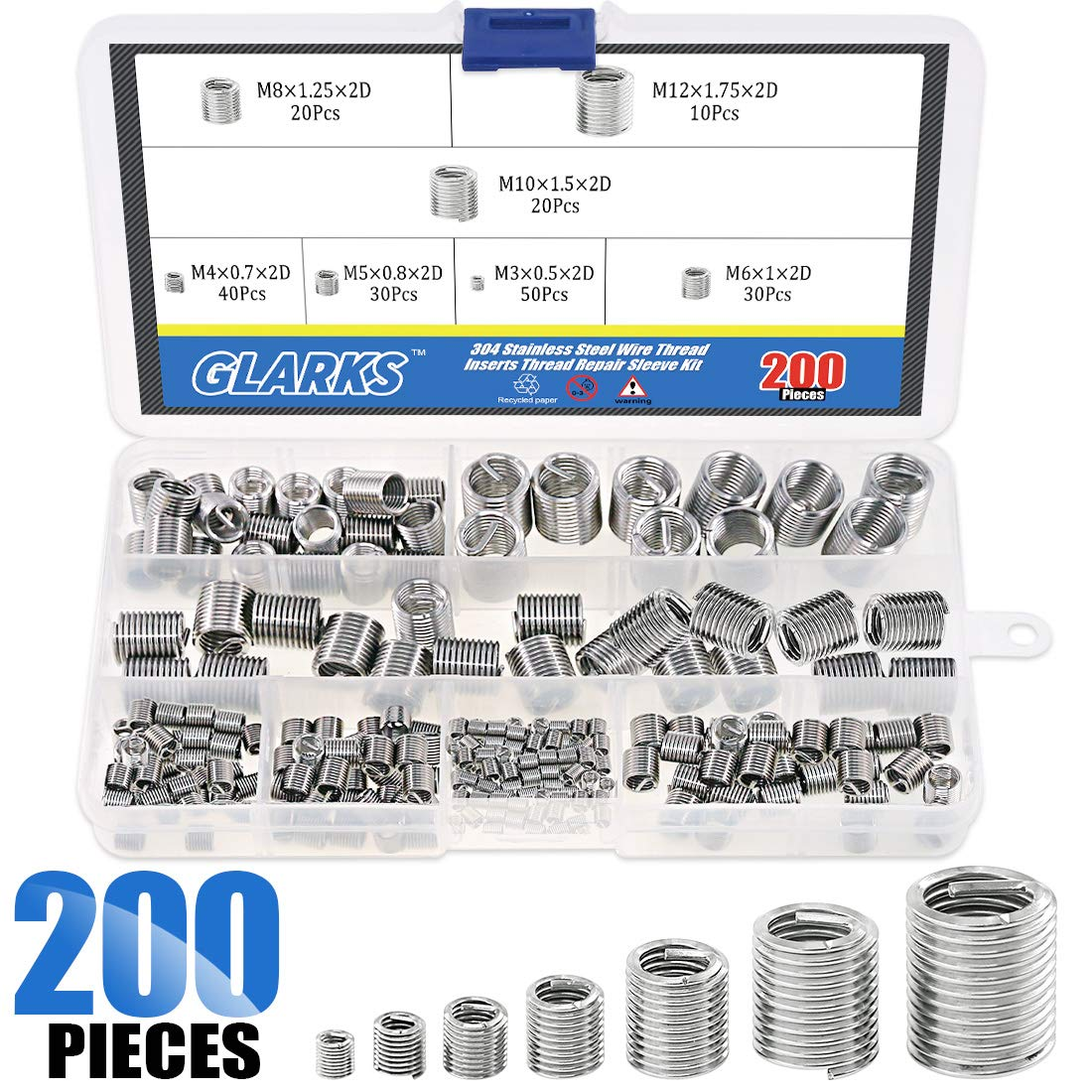 Glarks 200Pcs Wire Inserts Screws Sleeve Assortment Kit, 304 Stainless Steel Metric M3 M4 M5 M6 M8 M10 M12 Wire Thread Inserts Helical Type Coiled Wire Screw Repair Sleeve for Automotive Repairs by Glarks