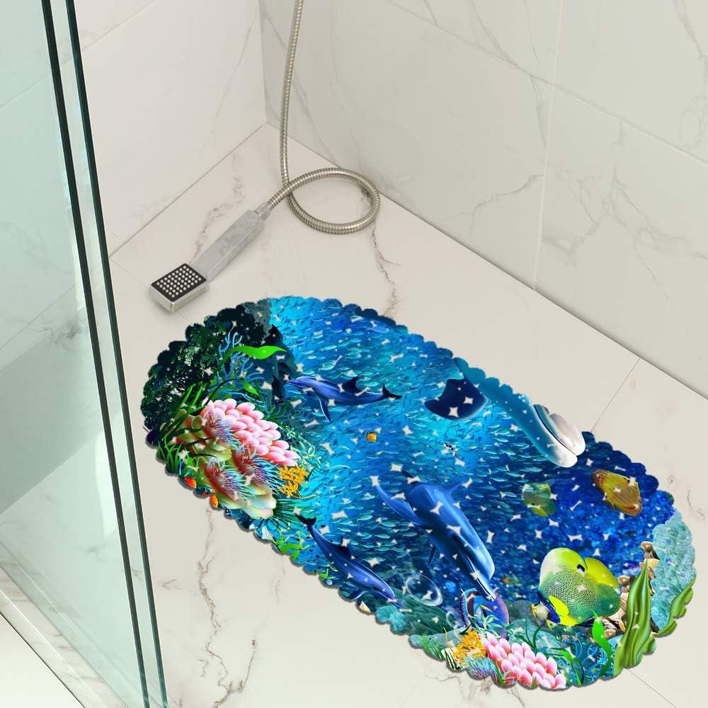 Duschmatte Blauer Ozean Delphin rutschfeste Saugn/äpfe Oval 35x70cm Geeignet F/ür Kinder Und Schwangere Muster 01