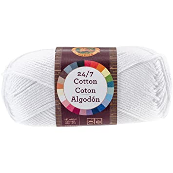 Lion Brand Yarn 761-100 24-7 Cotton Yarn, White