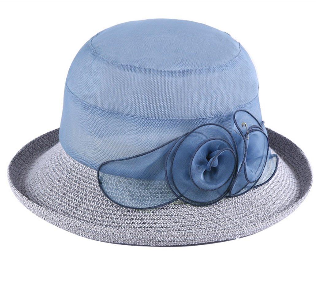 bluee Sun Hat Sunscreen Fold Sun Hat Curling Flower Travel Hat ZXCV