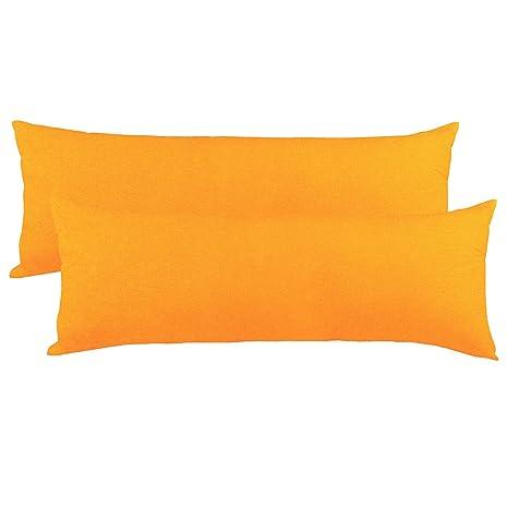 Celinatex BeNature Funda de cojín Juego de 2 Unidades Cierre de Cremallera algodón 40 x 120 cm Naranja