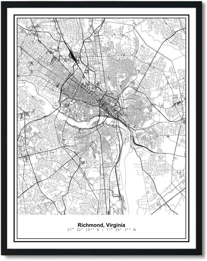 Susie Arts 11X14 Unframed Richmond Virginia Metropolitan City View Abstract Street Map Art Print Poster Wall Decor V333