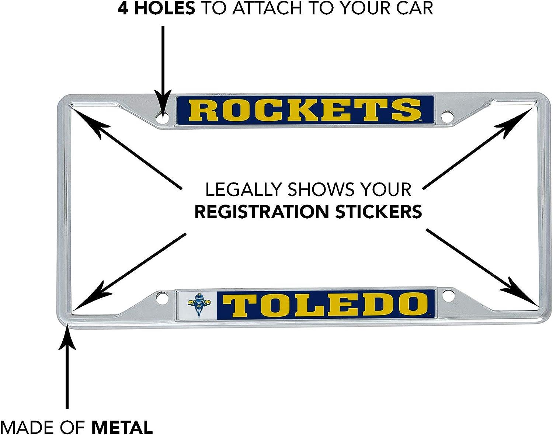 Mascot Desert Cactus University of Toledo UT Rockets NCAA Metal License Plate Frame for Front Back of Car Officially Licensed