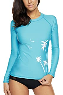 2d25cc8c9b Vegatos Women Long Sleeve Rash Guard UPF 50+ Swim Shirt Athletic Swimsuit  Tops