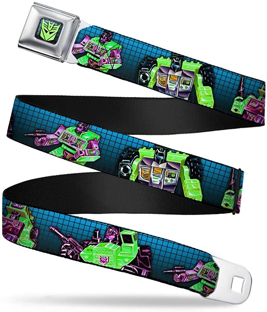 24-38 Inches in Length 1.5 Wide 4-Constructicons Grid Blue-Fade//Black Buckle-Down Seatbelt Belt