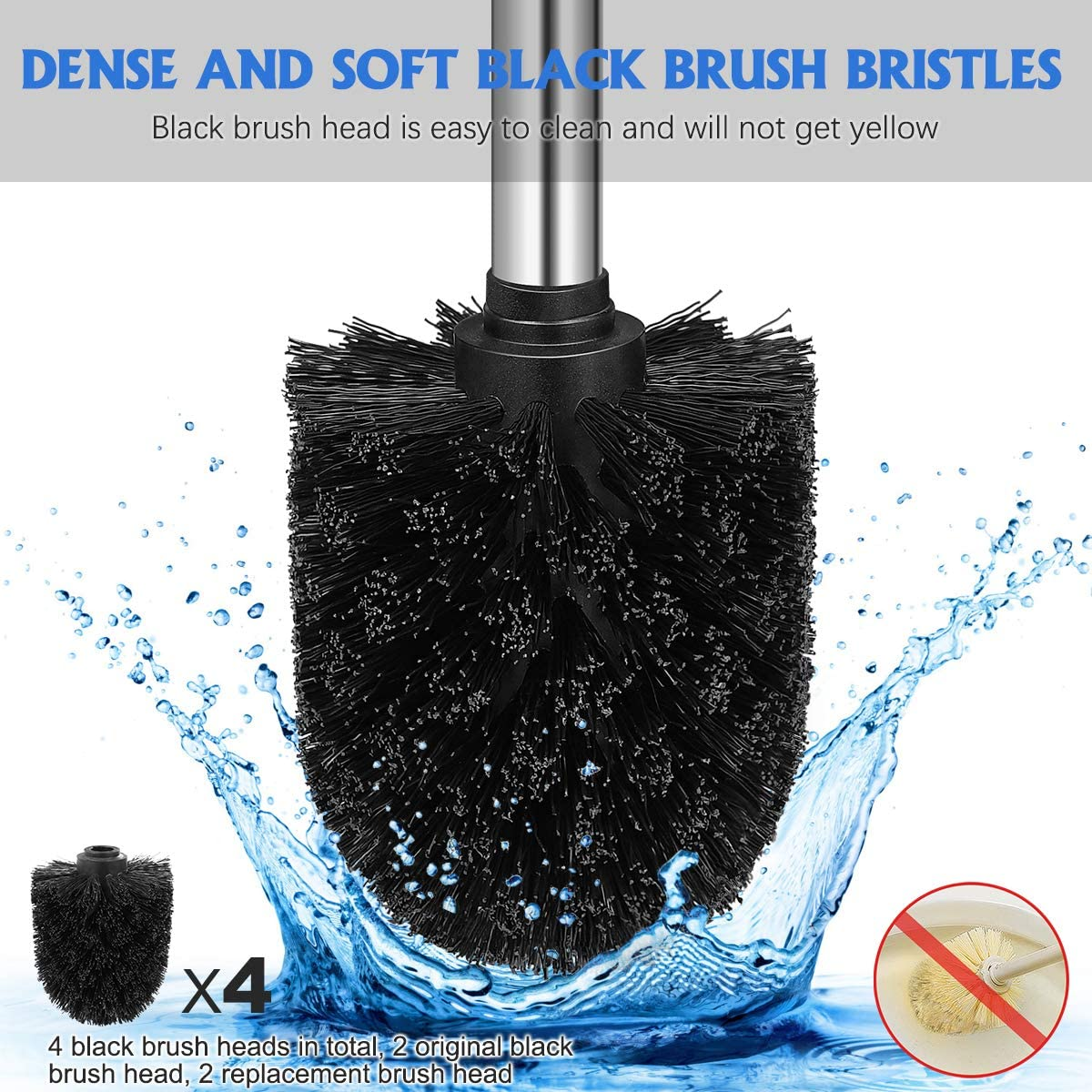 Toilet Brush with Holder, Premium 304 Stainless Steel-Anti-Rust, Toilet Brushes 2 Pack with 4 Dense Black Brush Heads