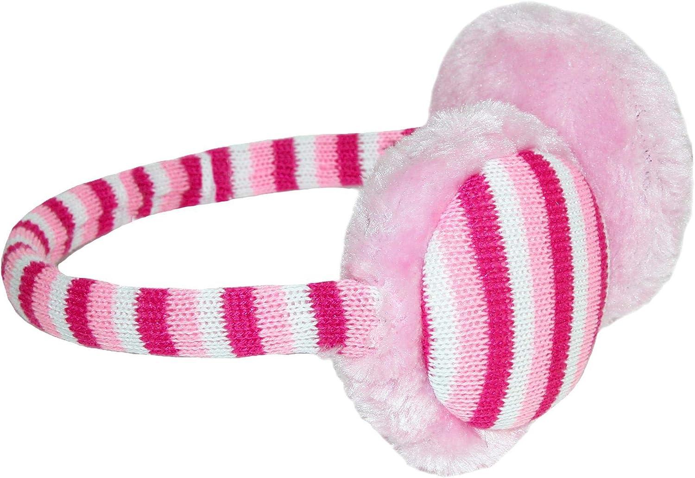 Grand Sierra Kids 7-16 Striped Over the Head Earmuffs Pink