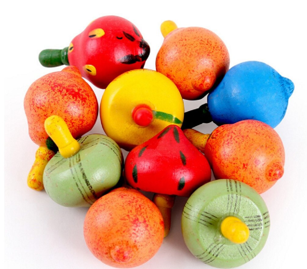 10pcs/lot Wooden Toy Cute Fruit Spinning Top Classic Toy Kids Children Game Toy by Yan Toy Gift (Image #1)