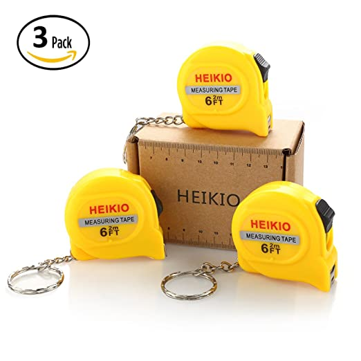 3-Pack Measuring Tape 6FT/2M by HEIKIO, with Belt Clip and Key Chain, Accurate Metric and Inch Scale, Clear Mark for DIY and Daily Family Use - Locking Mini Tape Measure 17001