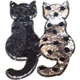 Parche ropa bordado, Cambio reversible color lentejuelas coser en bricolaje ropa parches accesorios ropa para camiseta Jeans Ropa bolsas zapatos cortina estilo gato