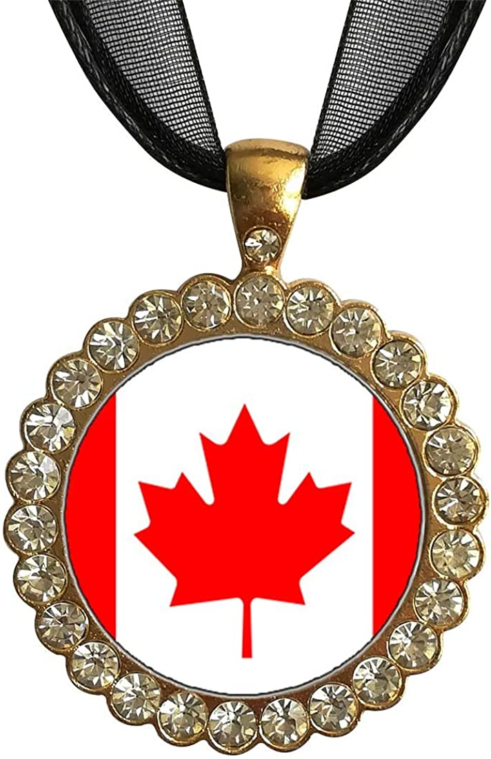 GiftJewelryShop Gold-Plated Canada Flag White Crystal Charm Pendant Necklace