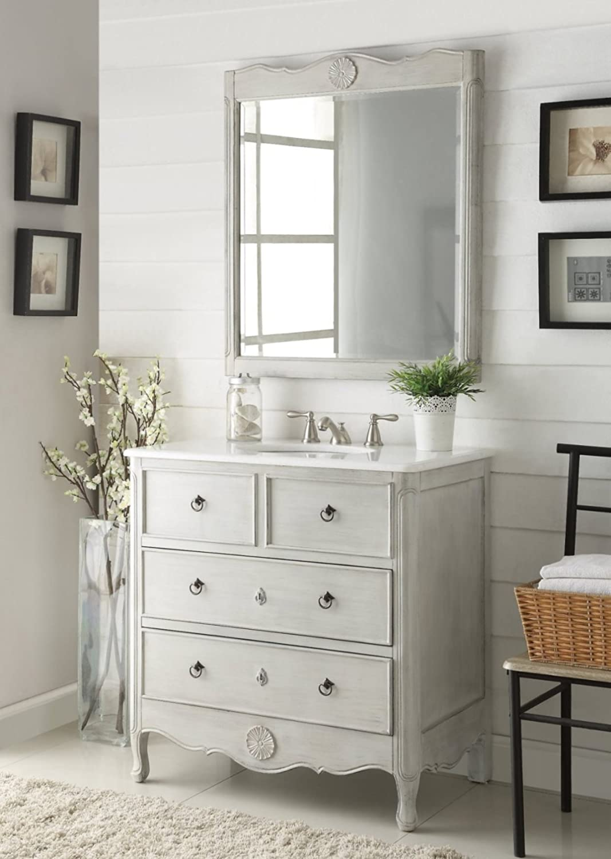 Daleville 34 inch vanity hf081wp distressed cream - 34 Benton Collection Cottage Look Daleville Bathroom Sink Vanity W Mirror Model Hf081 Ck Distressed Grey Amazon Com