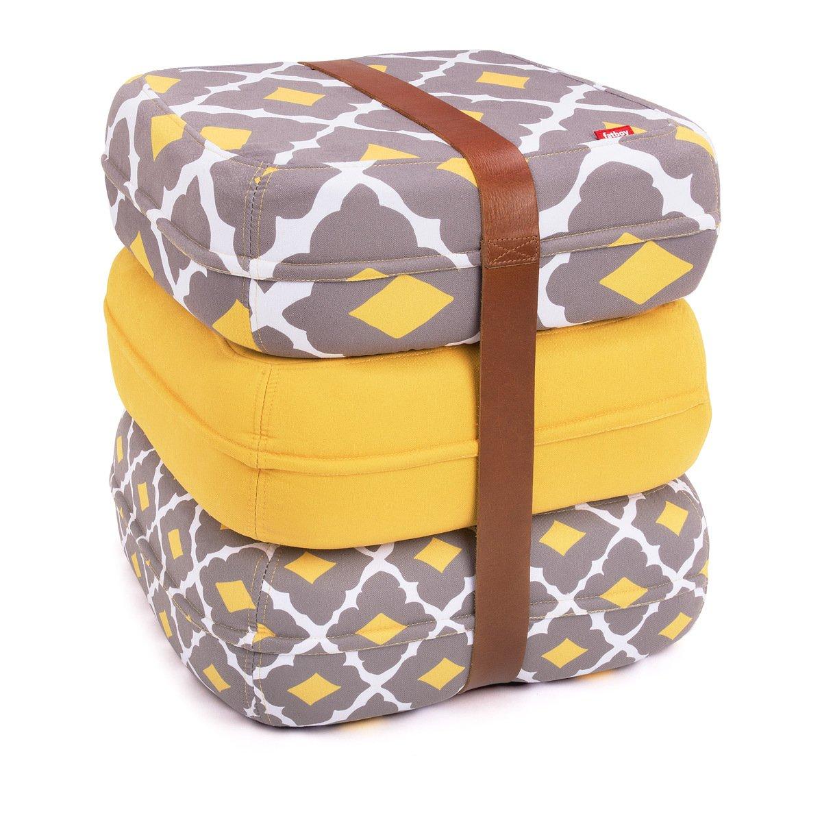 Fatboy 900.6318 Baboesjka Eusebio Amarelo - 3er Set Sitzkissen mit Ledergurt in gelb   braun